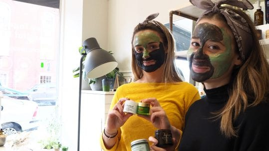 Women make custom skincare face mask